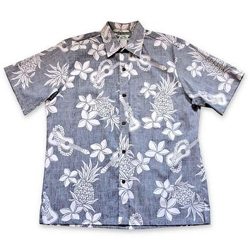 ukulele fun navy reverse print hawaiian cotton shirt