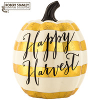 Cream & Gold Happy Harvest Striped Dolomite Pumpkin | Hobby Lobby