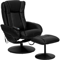 Massaging Black Leather Recliner & Ottoman Leather Wrapped Base