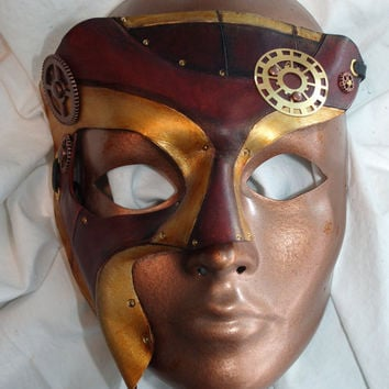 Steampunk Two-Face Leather Phantom of the Opera Victorian Half-Mask