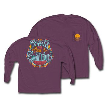 """*Closeout* Southern Raised """"Swirly Proud"""" Tee on Comfort Colors Long Sleeve"""