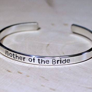 Silver Bracelet Mother of the bride cuff bracelet in solid 925 sterling silver