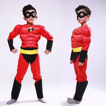2018 New Kids Carnival Clothing Children Agent Superman Bob Parr The Incredibles Halloween Cosplay Party Role Play Costume