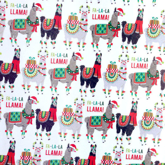 holiday llama wrapping paper 1 roll from dandelionpaper on etsy
