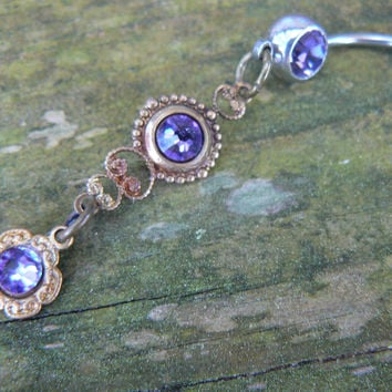 Purple Swarovski belly ring