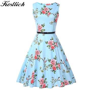Kostlich Floral Print Summer Dress Women Sleeveless 50s 60s Tunic Vintage Dress With Belt 2018 Cotton Party Dresses Sundress