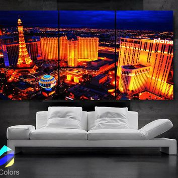"LARGE 30""x 60"" 3 Panels Art Canvas Print Beautiful skyline Las Vegas Nevada night Wall Home (Included framed 1.5"" depth)"