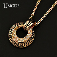 UMODE Rose Gold Color with Stellux Austrian Crystals G Element Circle Pendant Necklace JN0088