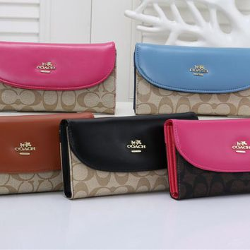 """COACH"" Classic Retro Fashion Multicolor Print Messenger Bag Women Small Square Bag"