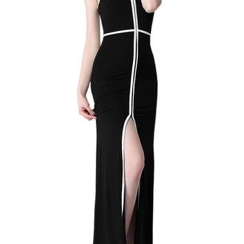 Color Block Slit Front Strappy Maxi Dress