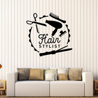 Vinyl Wall Decal Hair Stylist Barber Tools Beauty Stickers Mural Unique Gift (404ig)