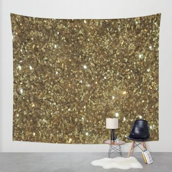 Gold Glitter Wall Tapestry by NatalieBoBatalie