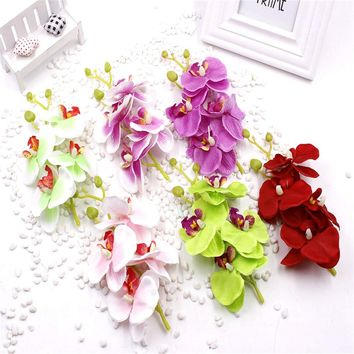 1pcs lot 17cm Artificial Silk Butterfly Orchid Flowers Bouquet With Peduncle Living Room Coffee Dining Table wedding decoration