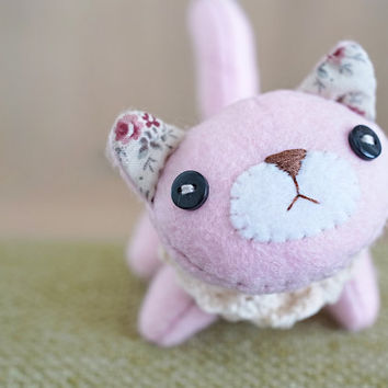 Pink and Foral Felt Cat Plush - soft 3 dimensional animal - READY TO SHIP
