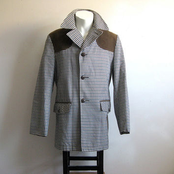 Vintage 1970s Spring Jacket Mens Plaid Check Black Brown Car Coat 40R
