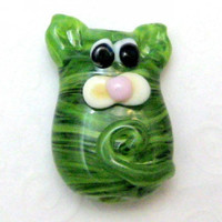 Glass Lampwork Focal Bead Handmade Kitty Cat Lampwork Glass Bead Green Stripes