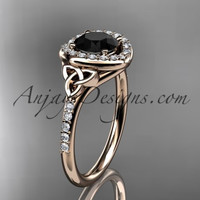 14kt rose gold diamond celtic trinity knot wedding ring, engagement ring with a Black Diamond center stone CT7201