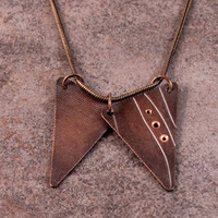 "Roller Printed Copper Triangle Necklace- Diptych- Vertical- Crisscross and Curvy Lines with 18"" Copper Snake Chain"