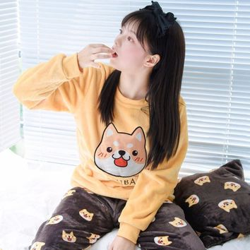 Cute Shiba Inu Fleece Longsleeve and Pants Pajama Set