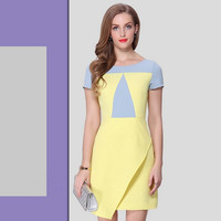 Casual Color Block Asymmetrical Mini Dress