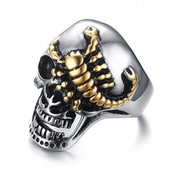 Stylish Embossed Scorpion Skull Ring For Men - Silver And Golden