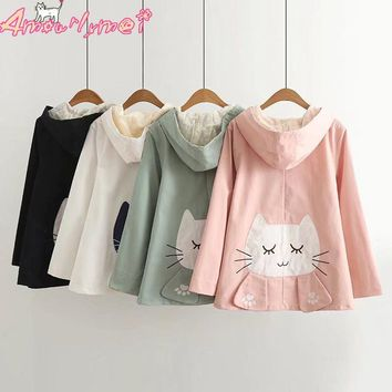 Trendy Spring Women Jacket Coat Japanese Style Mori Girl Kawaii Cat Embroidery Lace Hooded Long Sleeve Casual Jacket Outerwear Female AT_94_13
