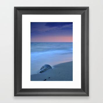 Hidden stone at sunset Framed Art Print by Guido Montañés