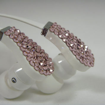 White Pink Rose Color Crystallized Play Music Headphones Earpiece w Swarovski Elements and Crystals Bling