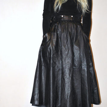 Black leather midi tea length circle skirt small