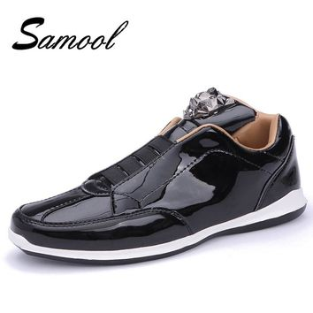 SAMOOL Men'S Leather Casual Shoes Classic 2018 Fashion Male Lace Up Flats Men Lightweight Shoes Round Head Mens Flat Heel Lx5
