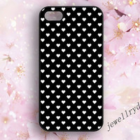 Heart iPhone 5s Case,Black Hearts iPhone 4/4s Case,Valentines Day iPhone 5/5c Case,Love samsung galaxy s5 s4 s3,Personalized,white and black