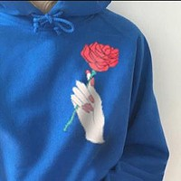 Popular Women Hand A Rose Print Hoodie Loose Blue Long Sleeve Pullover Top Sweater