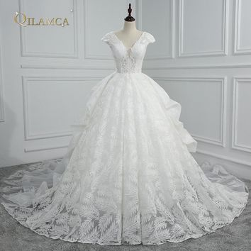 Vestido De Noiva V Neck Lace Ball Gown Wedding Dresses 2018 Cap Sleeve Embroidery Beaded Vintage Bridal Gown Plus Size