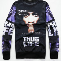 Black Emoji Hip Hop Artist 2pac 3D Print Long Sleeve Sweatshirt