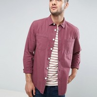 ASOS Double Pocket Overshirt In Raspberry Pink at asos.com