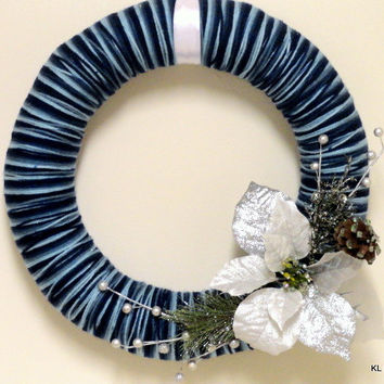 Winter/Christmas Yarn Wreath- Blue Yarn Wreath- Shades of Blue- Silver Flowers- Winter Wreath- Christmas Wreath
