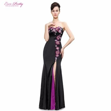 Elegant Strapless Flowers Sequins Slitted Trailing Evening Dress