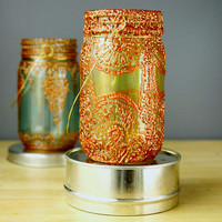 Hand Painted Mason Jar Lantern, With Copper and Gold Accents