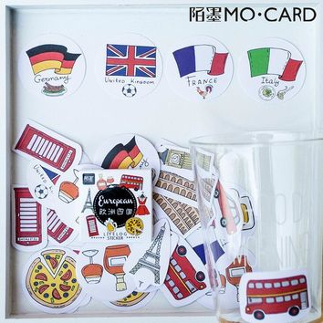 45 pcs/pack Europe Germany UK France Italy Stickers Decorative Stationery Stickers Scrapbooking DIY Diary Album Stick Label