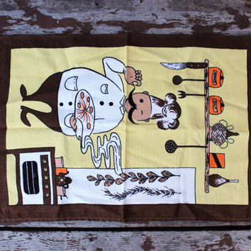 Vintage Hand & Dish Towel | Little Chef Making Pizza | 100% Cotton | Kmart Luxe Quality | Retro Kitchen