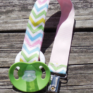 Pastel Chevron Stripe Pacifier Holder, Binky Clip, Pacifier Clip or Toy Clip