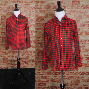 Vintage 1980s Black red PLAID tiny fit button down long sleeve preppy shirt blouse top