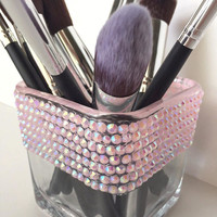 Half Blinged Pink Sparkly Makeup Brush/Pencil Square Glass Holder