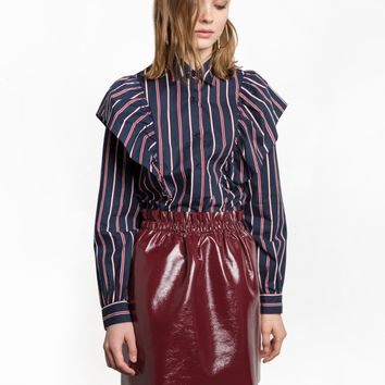 Navy and Red Striped Ruffled Shirt