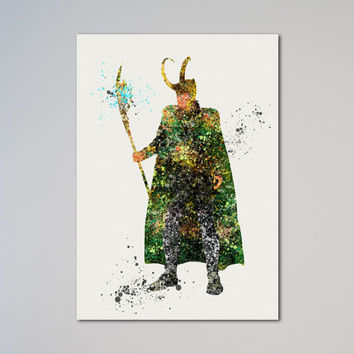 Avengers Loki Poster Thor Watercolor Print Comics The Avengers Assemble Wall Decor Wall Hanging Wall Art Picture express delivery
