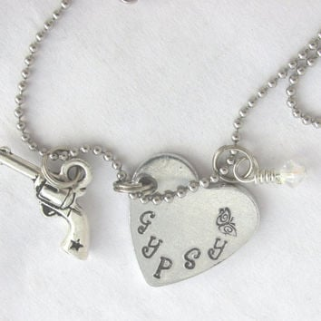 Gypsy Hand Stamped Heart Pendant Necklace With Crystal  and Pistol Dangles (Necklace 330D)