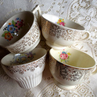 Set of 4 Mismatched Floral Teacups.  Bridal Shower, Tea Party Decor