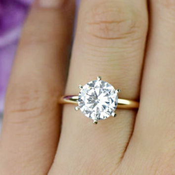 A Perfect 3.2CT Round Cut Solitaire Russian Lab Diamond 14K Yellow Gold Ring