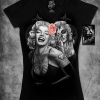 Marilyn Monroe Tattoo Sugar Skull David Gonzales DGA Homies Junior Women T shirt