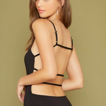 Sleeveless Strappy Back Thong Bodysuit